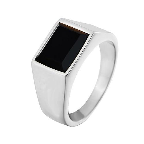 Amazon.com: ifuaqz acero inoxidable negro piedra ágata de ...
