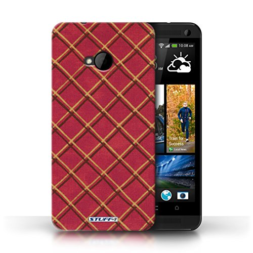 Etui / Coque pour HTC One/1 M7 / Rouge conception / Collection de Motif Entrecroisé