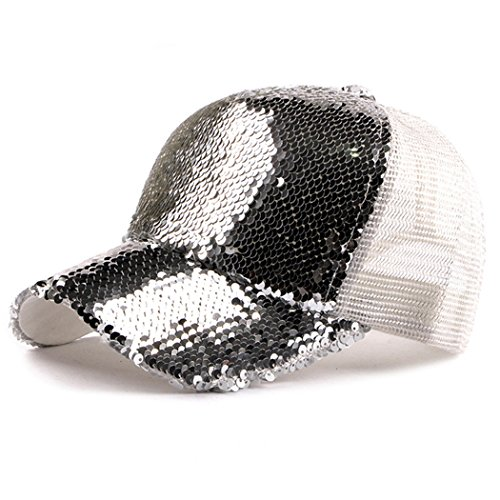 Sequin Baseball Cap - IZUS Sequin Hat,Baseball Hat Reversible Magic Sequin Adjustable Baseball Cap (White)