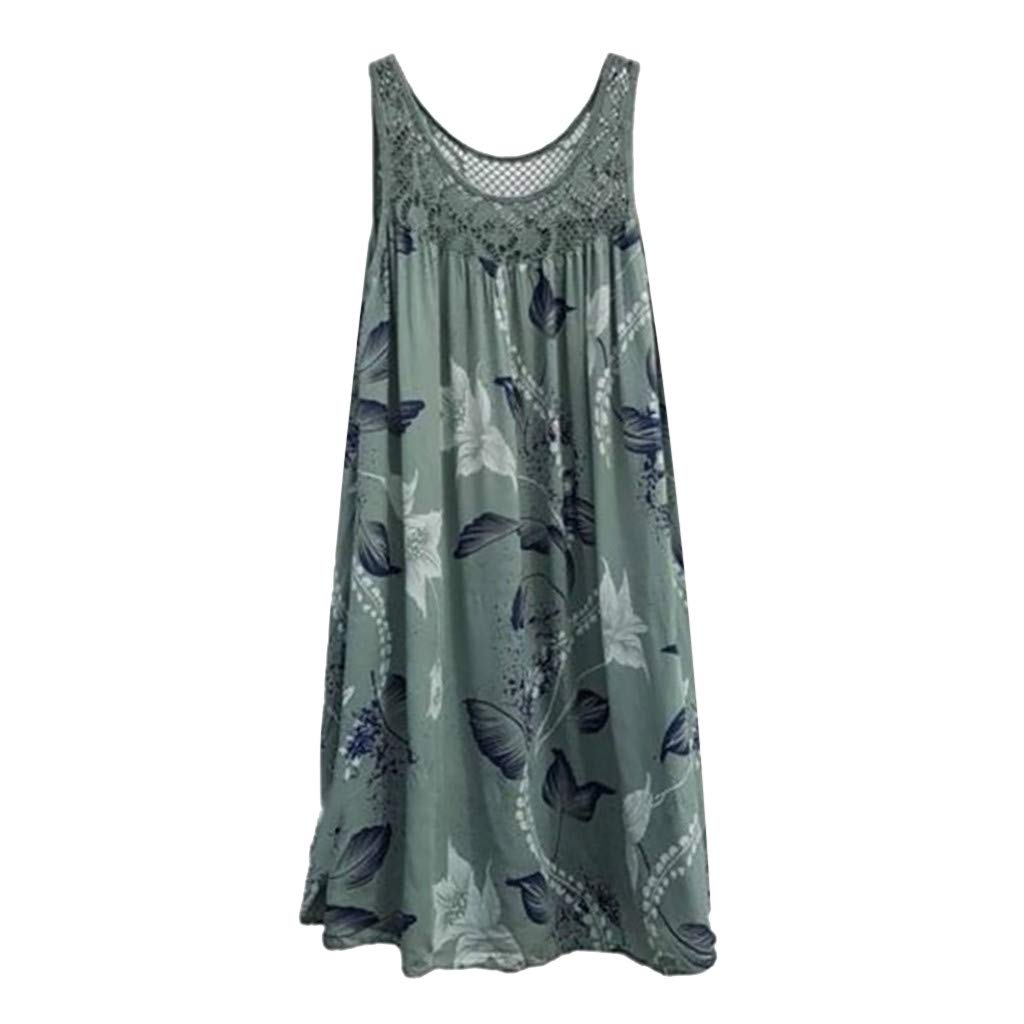 TnaIolral Women Lace Dresses Stitching Print Summer Sleeveless Skirt Army Green