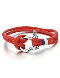 Mens Women Steel Screw Anchor Shackles Red Nautical Sailor Rope Cord Braided Wrap Bracelet Wristband