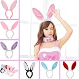 Plush Bunny Ears Headband, Pack of 6 Hairbands in Assorted Colors for Party Decoration Accessories Party Favors ,Cosplay, Birthdays, Halloween, Baby Showers, Everyday Wear,Fits Adults and Children
