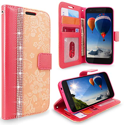 Cellularvilla LG Aristo 2 Plus Case LG Aristo 2/LG Zone 4/LG Tribute Dynasty/LG Aristo 2 KC1 Case Embossed Flower Leather [Card Slot] [Flip Stand] Wallet Case Cover for LG K8 2018 (Peach Pink Bling) ()