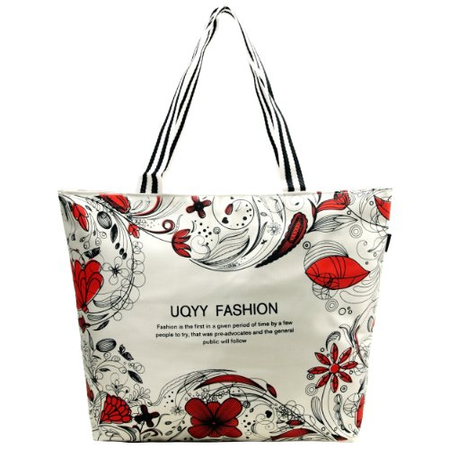 Modern Red Floral Abstract Large Silver Large Top Double Handle Shopping Boat Tote Hobo Shoulder Bag Daybag Handbag, Bags Central