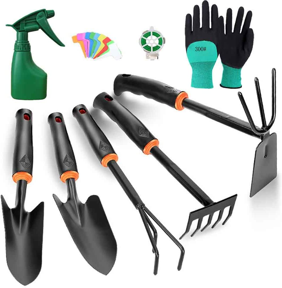 Gardening Tools Set, High Carbon Steel Heavy Duty Hand Garden Tools Kit with Soft Rubberized Non-Slip Ergonomic Handle, with Gloves Spray Bottle 9 Piece Gardening Tool Gifts for Women Men.