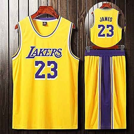 QAZW NBA Baloncesto Uniformes Lakers James Kobe Uniforme de Baloncesto Traje de Verano Transpirable Sudadera Camisa Deportivas Baloncesto Jersey Yellow-XL: Amazon.es: Hogar
