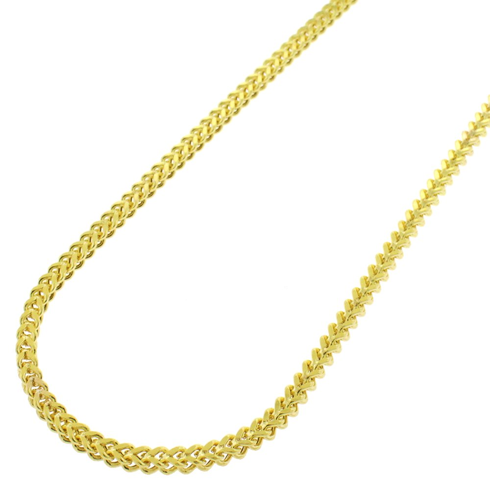 14k Yellow Gold 2mm Hollow Franco Square Box Link Necklace Chain 18'' - 32'' (22)