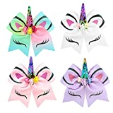 7 inch Unicorn Cheer Bows Girls Hair Bows With Elastic Band for Teen Girls Cheerleader Sports (Multicolor)