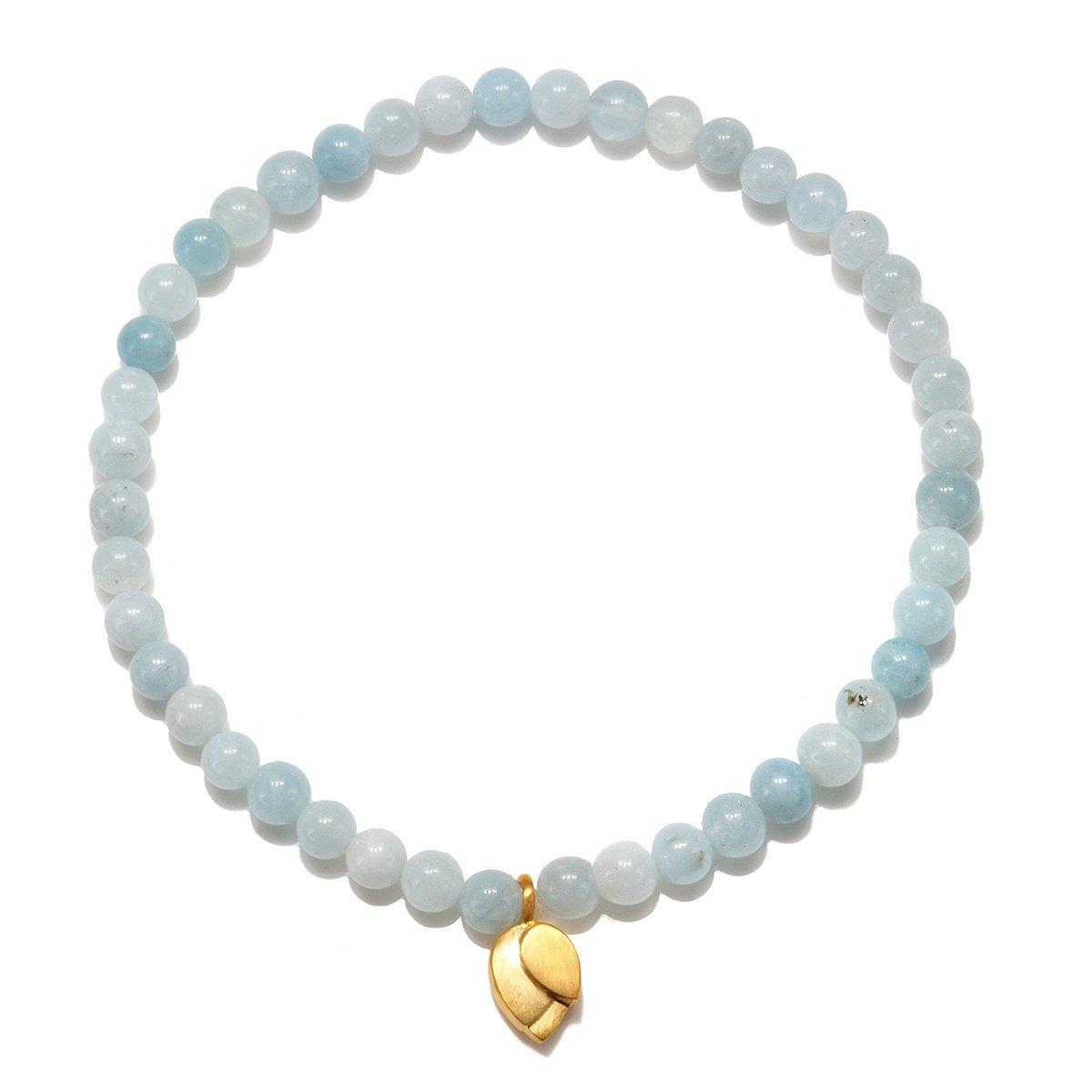 Satya Jewelry Aquamarine Gold Lotus Stretch Bracelet, Blue, One Size by Satya Jewelry