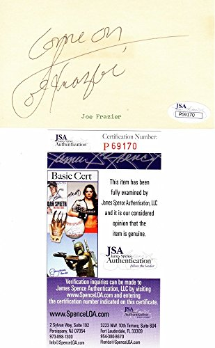 Joe Frazier Autographed Signed Vintage Boxing 3x5 inch Index Card with inscription - Deceased 2011 - JSA Authentic from Sports Collectibles Online