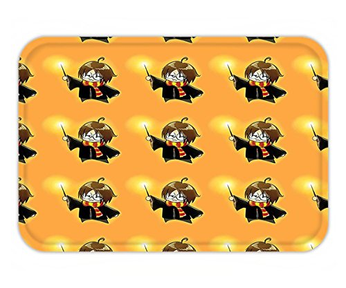 Minicoso Doormat Wizard Cartoon Character with Glasses in Costume Frock Holding Wand Pattern Magic Anime Art Decor Orange and - Costume Beyonce