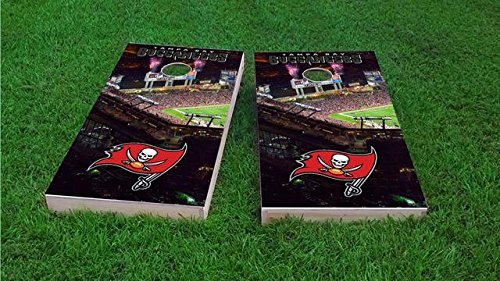 Tailgate Pro's Tampa Bay Stadium Field Cornhole Boards, ACA Corn Hole Set, Comes with 2 Boards, 8 All Weather Bags, 1 Vinyl Case & 2 Board Hole Lights