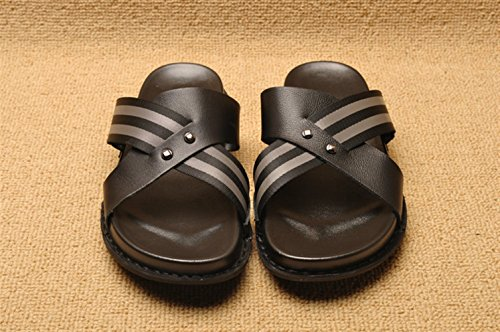 Outdoor Slippers Icegrey Black Sandals Leather Cross Mens w0KxvAR1
