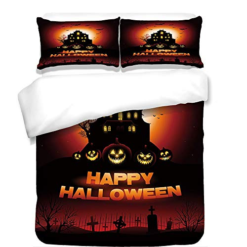 iPrint 3Pcs Duvet Cover Set,Halloween,Happy Halloween Haunted House Flying Bats Scary Looking Pumpkins Cemetery Decorative,Black Orange Red,Best Bedding Gifts for Family/Friends for $<!--$108.89-->