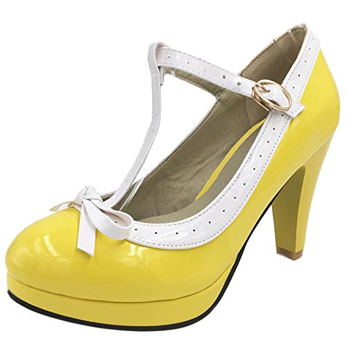 Shoes Giallo Colori Ladies 16 Heels Taglie T Coolcept Bar Pumps Extra Court YwPvq7