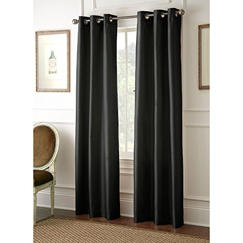 LuxuryDiscounts 2 Piece Solid FAUX SILK BLACKOUT Grommet Window Panel Curtain Drapes with Foam Backing (37