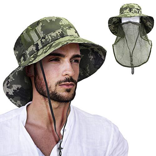 Tirrinia Anti-Mosquito Bug Mask Hat, Wide Brim Bucket Sun Cap with Face Net Mesh Boonie Hat for Men & Women Outdoor ()