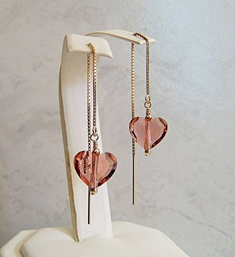 Blush Rose Pink Heart Gold Filled Ear Thread Earrings Made With Swarovski Crystals Gift Idea ()