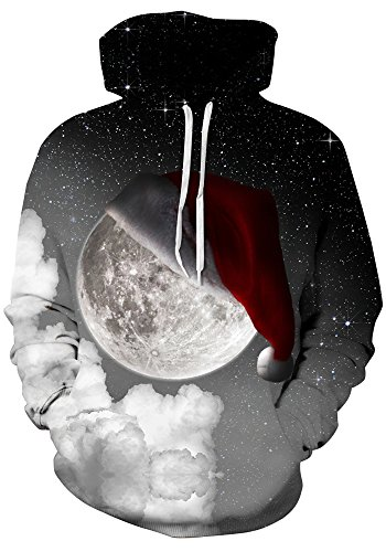 Leapparel Christmas Hoody Unisex 3D Graphic Santa Moon Design Ugly Xmas Hooded Pullover Sweater For Boy and Girls Black Cool Christmas Sweaters
