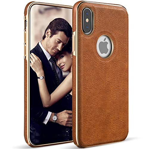LOHASIC iPhone X Case, iPhone Xs Case Premium Leather Luxury Slim Soft Flexible Bumper Rugged Non-Slip Grip Anti-Scratch Shockproof Protective Cover Cases Compatible with Apple iPhone X 10 Xs (Brown) ()