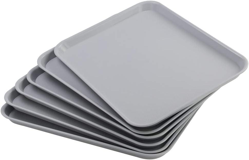 Vcansay Large Plastic Fast Food Restaurant Serving Trays, Light Grey, 6 Packs