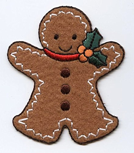 Large Christmas Gingerbread Man Iron on Embroidered Patch