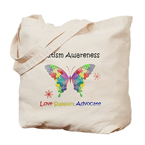 CafePress Autism Awareness Butterfly Natural Canvas Tote Bag, Cloth Shopping Bag