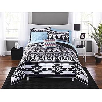 .com: 8 piece black white southwest comforter king set, aztec ...