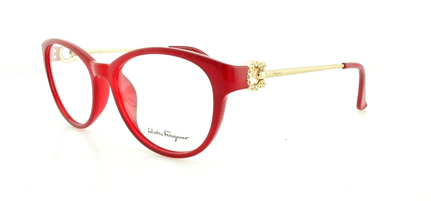 Amazon.com: SALVATORE FERRAGAMO Eyeglasses SF2704R 613 Red 53MM ...