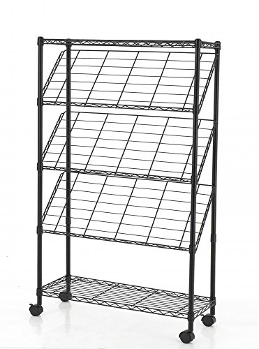 Black 4-Tier Magazine Show Rack Trade Show Literature Brochure Display + FREE E-Book by Eight24hours