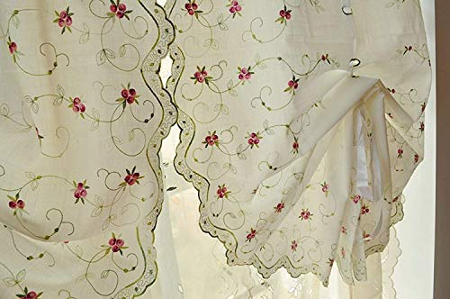 (Pro Space Embroidered Floral Roman Curtain - Adjustable Tie-up for Home Decoration Rod Pocket Sheer Curtain for Window/Balcony, 26