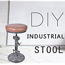 Topower American Antique Industrial DIY Crank Stool Cast Iron Base Bar Stool Design Metal Adjustable Height Bar Chair PU Seat Surface