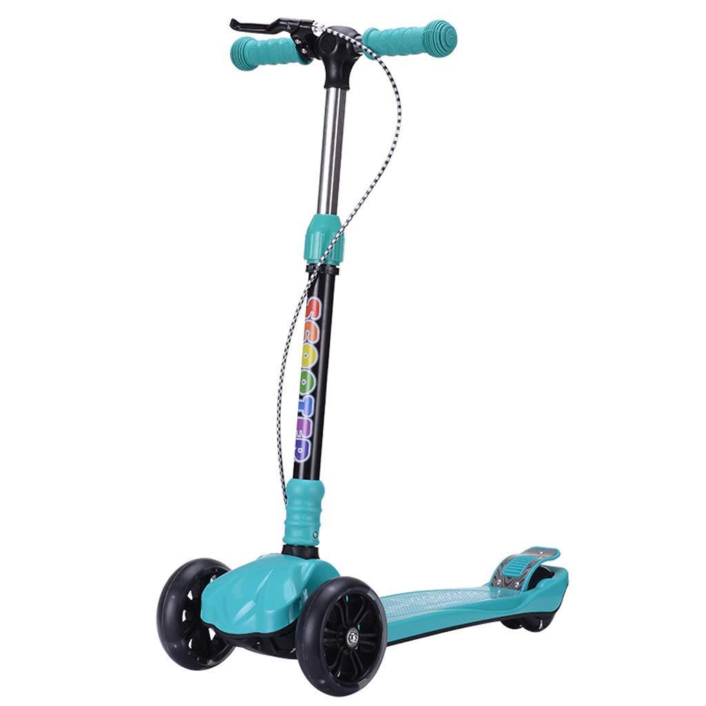 XUEYING-KickScooter Kinder Roller 2-3-6-8 Jahre alt Flash Kinder DREI oder Vier Runde Falten Roller Jo-Jo Spielzeug Riemenscheibe einen Fuß (Farbe   Blau2) Blau1