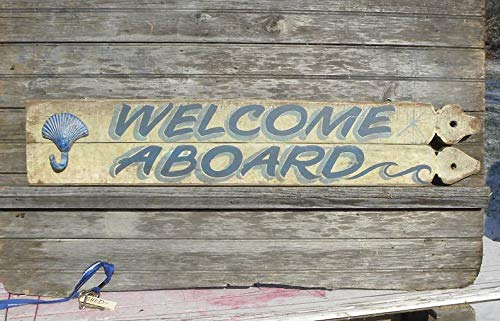 Welcome Aboard Sign, This is a wooden, original sign. Great for your beach or lakehouse decor. Makes a great unique gift. Fence post sign -