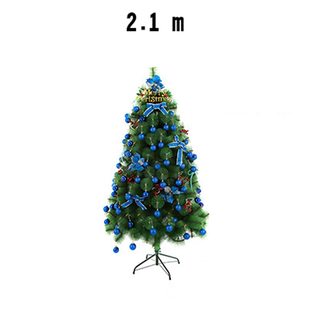 XF Christmas Tree-Christmas Tree Set 150cmHousewares Artificial Pine Christmas Tree with Stand Easy Build Hinged Branches Green 220v Voltage // (Size : 2.1m)