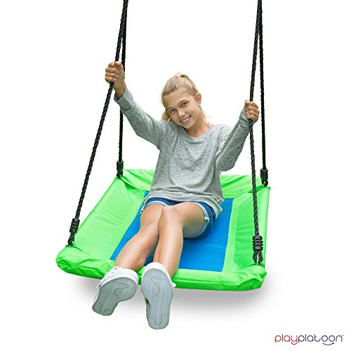 Outdoor Tree Swing for Kids & Adults - Rectangle Swing 40 x 30 Inches, Fully Assembled, 600 lb Weight Capacity, Easy to Install, Green & (Covered Sandbox Kit)