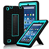 """Fire 7"""" (2015 Release) Case, Elegant Choise Heavy Duty Three Layer Armor Defender Protective Case Cover with Kickstand for Amazon Fire 7 Inch Tablet (5th Generation) (Blue+Black)"""