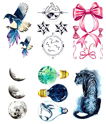 Oottati 6 Hojas Pequeño Lindo Tatuaje Temporal Tattoo Blue Bird ...