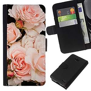 KLONGSHOP // Tirón de la caja Cartera de cuero con ranuras para tarjetas - Luz Rosas Árbol de Composición - LG OPTIMUS L90 //