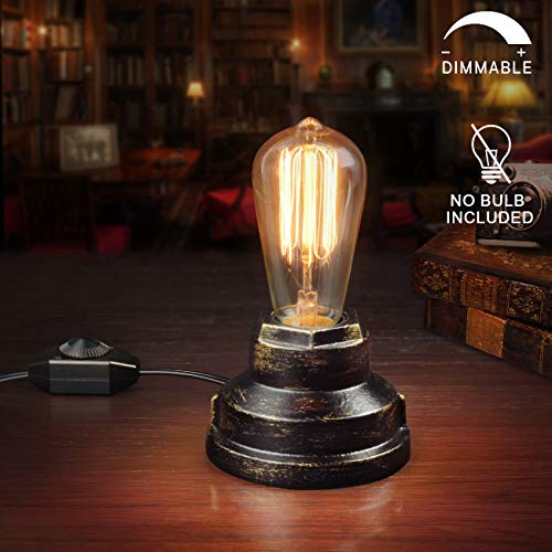 Vintage Table Lamp Industrial Wrought Iron Desk Lamp with Dimmer Switch Steampunk Antique Accent Lamp with E26 Edison Base Retro Lamp Holder Table Light Fixture Loft Decoration for Living Room Bedside
