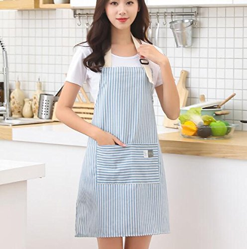 Goodscene Creative Apron Simple Stripe Apron Women Cotton Pocket Apron (Blue)