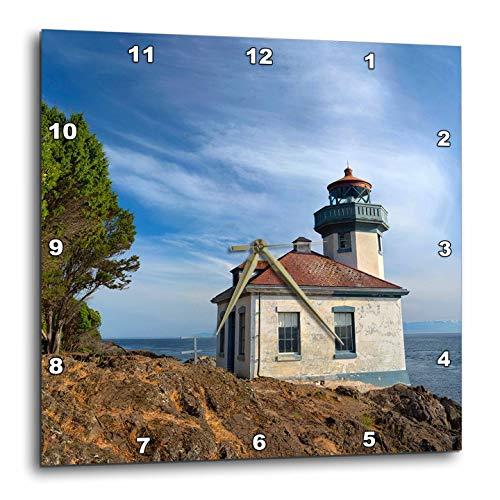 3dRose Danita Delimont - Washington - USA, Washington State, San Juan Island, Lime Kiln Point Lighthouse. - 10x10 Wall Clock (DPP_315158_1)