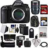 Canon EOS 5DS Digital SLR Camera Body with 24-105mm f/4 L II Lens + 64GB Card + Battery & Charger + Backpack + Grip + Flash + Kit