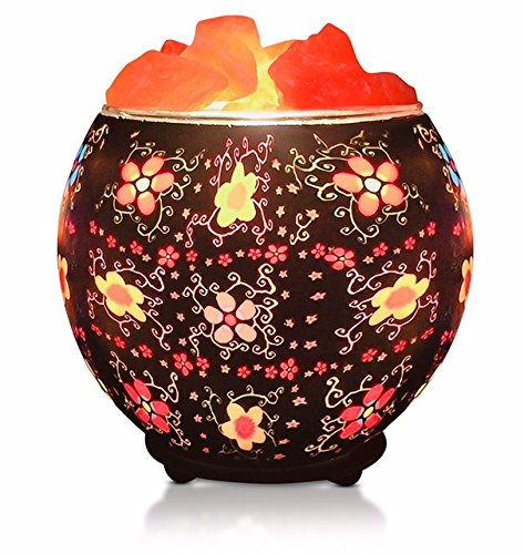 Himalayan Salt Crystal Lamp in Artisan-Crafted Bowl