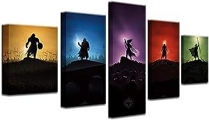 HAOSHUNDA Magic: The Gathering MTG 5 Panel Canvas Print Wall Art (8x14x2,8x18inx2,8x22inx1)