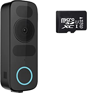 2021 releas - WiFi Video Doorbell Camera with 64G SD Card, Smart Doorbell with Power Kit,No Monthly Fees,Compatible with Alexa and Google Home (Existing Doorbell Wiring Required)