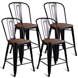 COSTWAY Tolix Style Dining Stools with Wood Seat and Backrest, Industrial Metal Counter Height Stool, Modern Kitchen Dining Bar Chairs Rustic, Copper (Height 24' 4PC)