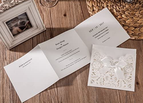 Amazon Com Wishmade Wedding Invitations With Rsvp Cards And Envelopes White Laser Cut Embossed Lace Ribbon Design Matched With Rsvp Cards Thank You Cards 50 Count Toys Games