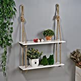 LQQGXL,Storage and organization Creative solid wood rope wall decoration racks, bookshelves, flower racks, wall hangings.