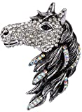 Angel Jewelry Women's Crystal Big Horse Brooch